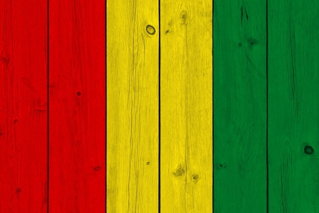 Vlag van guinee geschilderd op oude houten plank