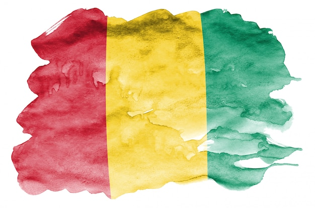 Vlag van guinee wordt afgebeeld in vloeibare aquarelstijl geïsoleerd op wit