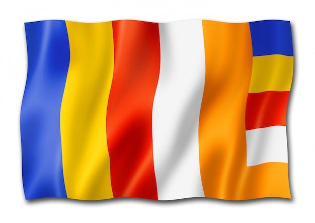 Vlag van het boeddhisme geïsoleerd op wit