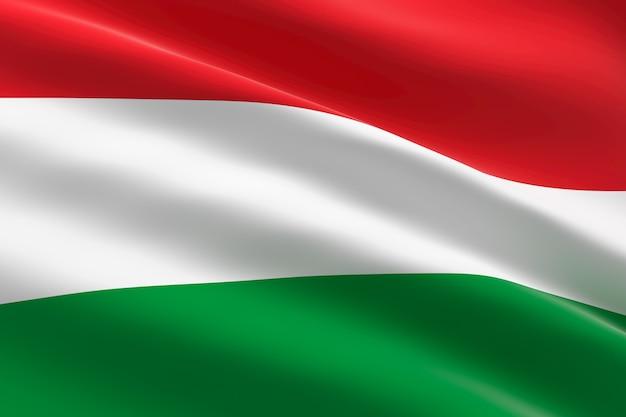 Vlag van hongarije. 3d-afbeelding van de hongaarse vlag zwaaien