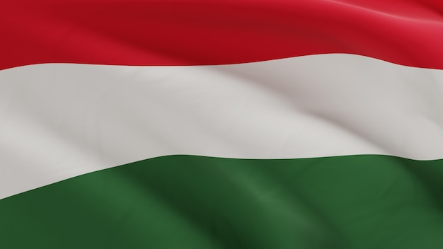 Vlag van hongarije zwaaien in de wind, stof micro textuur in 3d kwaliteit renderen