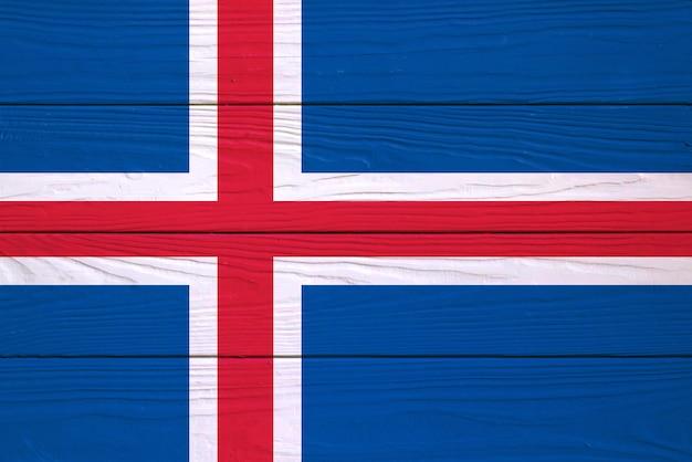 Vlag van ijsland geschilderd op een houten bord
