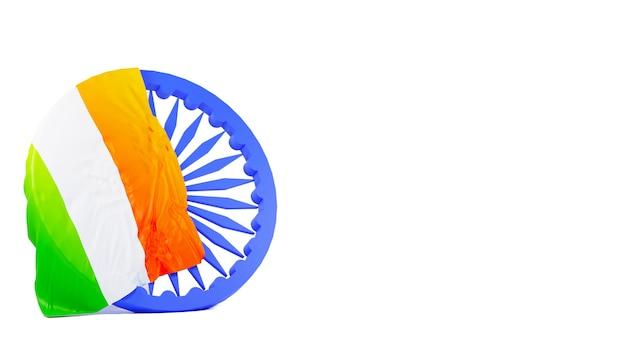 Vlag van india over 3d-blauw ashoka-wiel en kopieer de ruimte op een witte achtergrond.