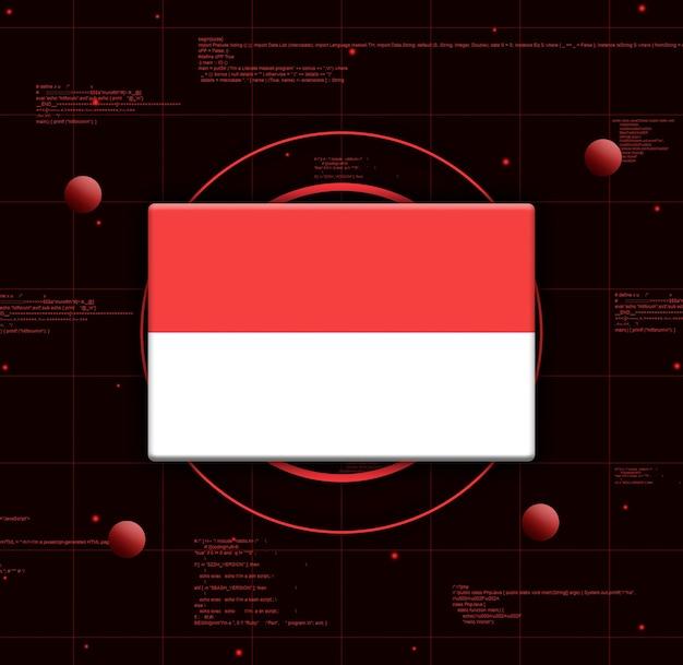 Vlag van indonesië met realistische technologie-elementen, 3d-rendering