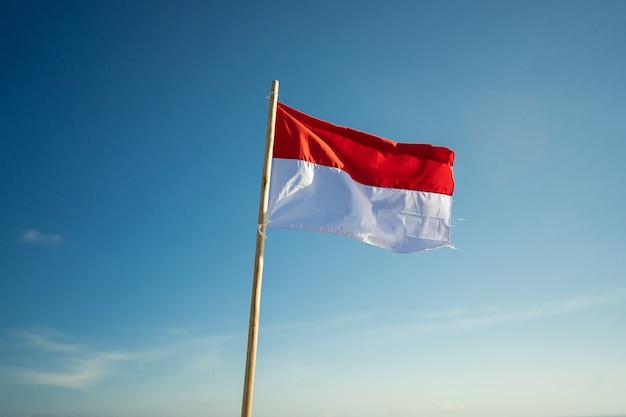 Vlag van indonesië onder blauwe hemel die rode en witte vlag opheft