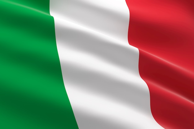 Vlag van italië. 3d-afbeelding van de italiaanse vlag zwaaien