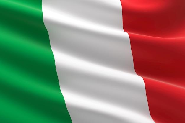 Vlag van italië. 3d-afbeelding van de italiaanse vlag zwaaien.
