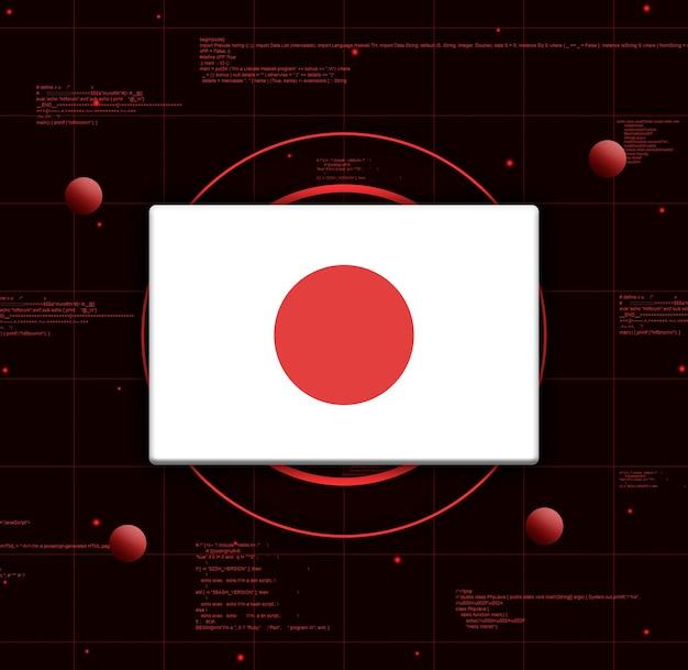 Vlag van japan met realistische technologie-elementen, 3d-rendering