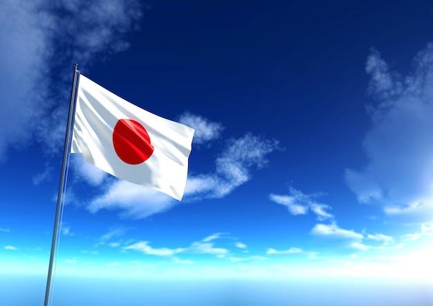 Vlag van japan onder de blauwe lucht, 3d-rendering Premium Foto