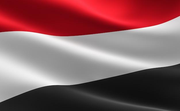 Vlag van jemen. illustratie van de yemeni vlag zwaaien.