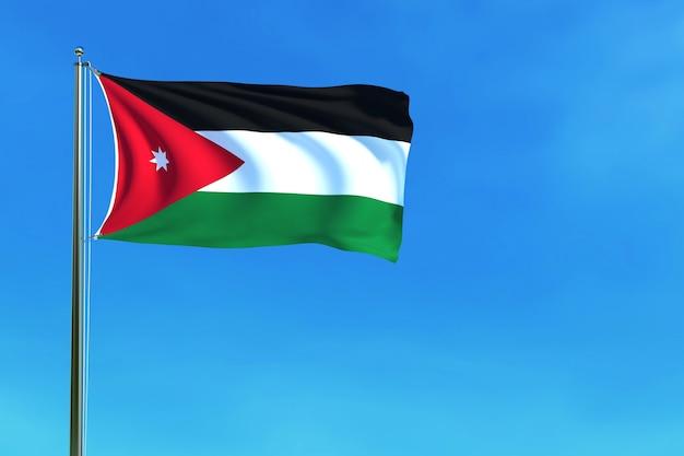 Vlag van jordanië op de blauwe hemelachtergrond het 3d teruggeven