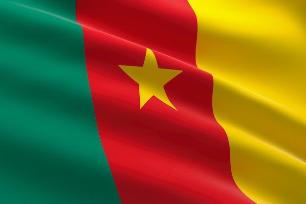 Vlag van kameroen 3d-afbeelding van de kameroense vlag zwaaien