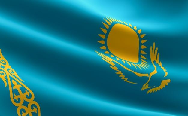 Vlag van kazachstan. 3d-afbeelding van de kazachse vlag zwaaien.