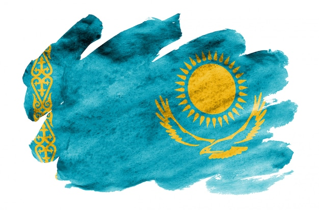 Vlag van kazachstan wordt afgebeeld in vloeibare aquarelstijl geïsoleerd op wit