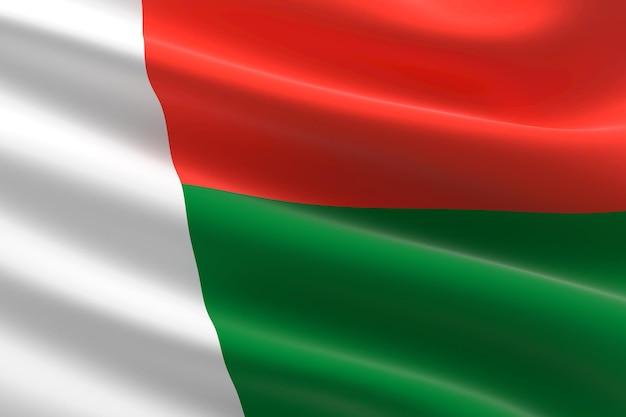 Vlag van madagaskar. 3d-afbeelding van de vlag van madagaskar zwaaien.