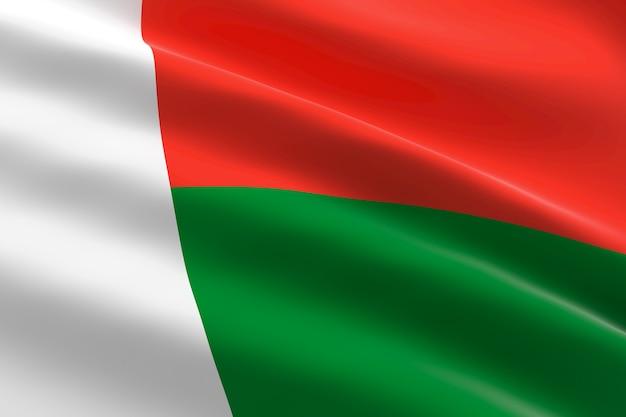 Vlag van madagaskar. 3d illustratie van het golvende vlag van madagascar