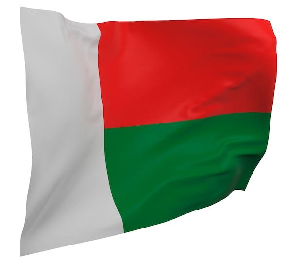 Vlag van madagaskar geïsoleerd. zwaaiende banner. nationale vlag van madagaskar Premium Foto