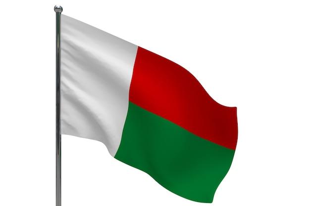 Vlag van madagaskar op paal. metalen vlaggenmast. nationale vlag van madagaskar 3d illustratie op wit