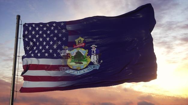 Vlag van maine en de vs op vlaggenmast. vs en maine gemengde vlag zwaaien in de wind