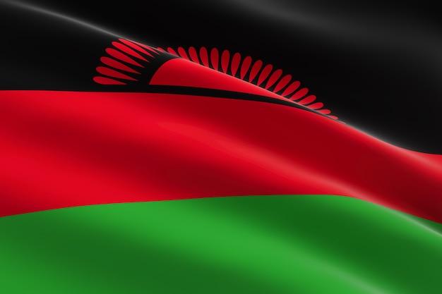 Vlag van malawi. 3d-afbeelding van de malawische vlag zwaaien