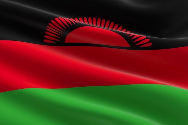 Vlag van malawi. 3d illustratie van de malawische vlag zwaaien.