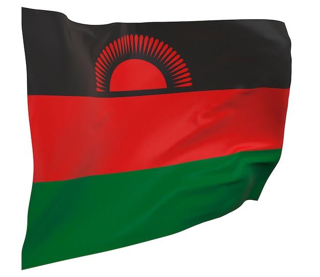 Vlag van malawi geïsoleerd. zwaaiende banner. nationale vlag van malawi
