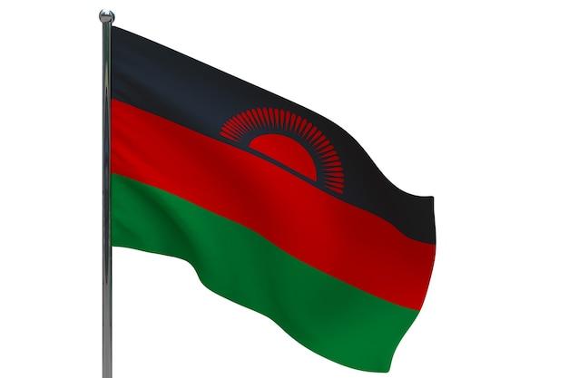 Vlag van malawi op paal. metalen vlaggenmast. nationale vlag van malawi 3d illustratie op wit