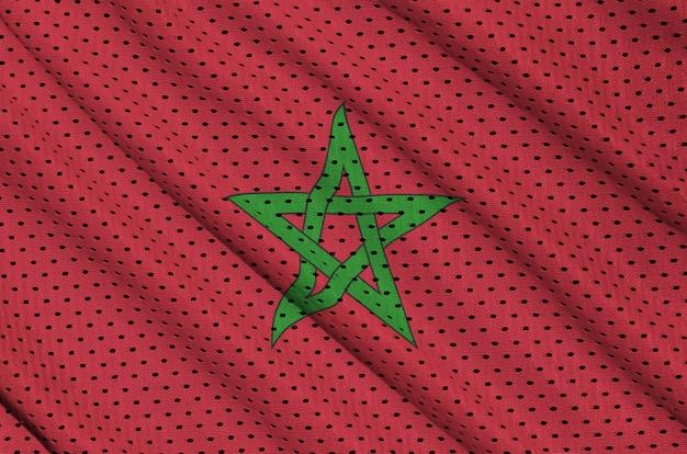 Vlag van marokko gedrukt op een polyester nylon sportkledingweefsel