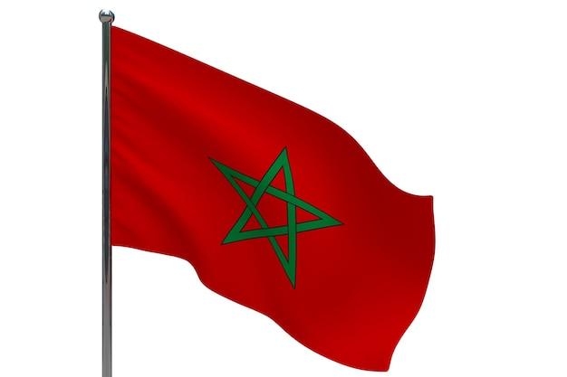 Vlag van marokko op paal. metalen vlaggenmast. nationale vlag van marokko 3d illustratie op wit