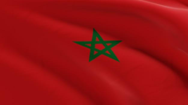 Vlag van marokko zwaaien in de wind, stof micro textuur in 3d kwaliteit renderen