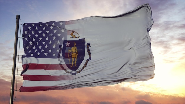 Vlag van massachusetts en de vs op vlaggenmast. vs en massachusetts gemengde vlag zwaaien in de wind