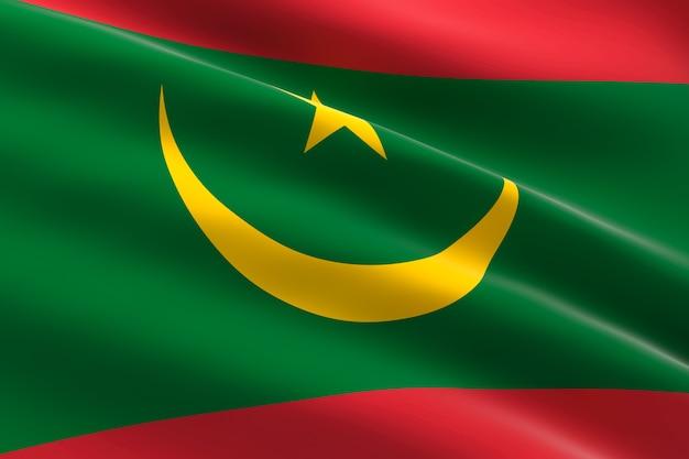 Vlag van mauritanië. 3d-afbeelding van de mauritaanse vlag zwaaien