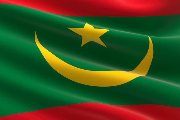 Vlag van mauritanië. 3d-afbeelding van de mauritaanse vlag zwaaien.