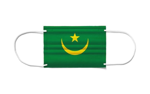 Vlag van mauritanië op een chirurgisch wegwerpmasker.