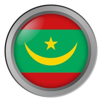 Vlag van mauritanië rond als knop