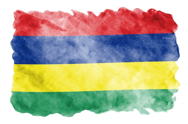 Vlag van mauritius wordt afgebeeld in vloeibare aquarelstijl geïsoleerd op wit