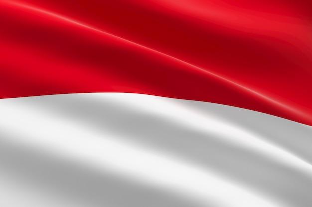 Vlag van monaco. 3d illustratie van monaco vlag zwaaien