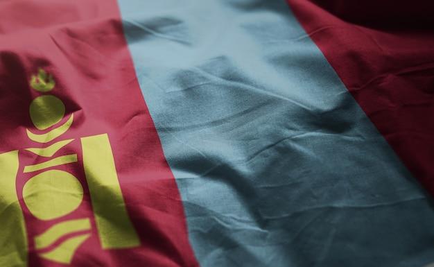 Vlag van mongolië verkreukelde close-up