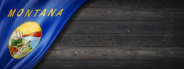 Vlag van montana op zwarte houten muurbanner, vs.