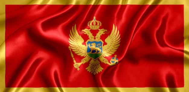 Vlag van montenegro zijde close-up