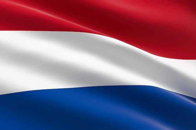 Vlag van nederland. 3d-afbeelding van de nederlandse vlag zwaaien