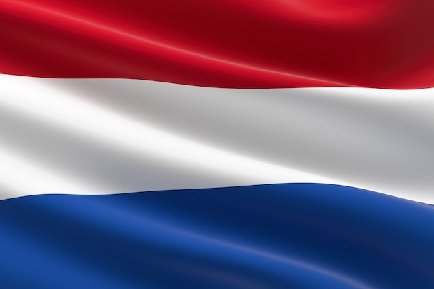 Vlag van nederland. 3d illustratie van de nederlandse vlag zwaaien.