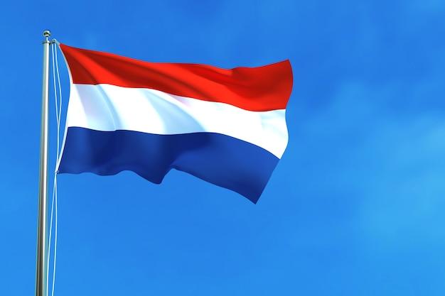 Vlag van nederland op de blauwe hemelachtergrond het 3d teruggeven