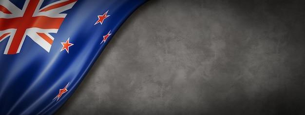 Vlag van nieuw-zeeland op betonnen muur