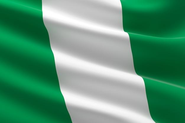 Vlag van nigeria. 3d-afbeelding van de nigeriaanse vlag zwaaien.