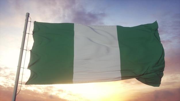 Vlag van nigeria zwaaien in de wind, lucht en zon achtergrond. 3d-rendering