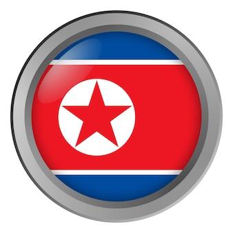 Vlag van noord-korea rond als knop