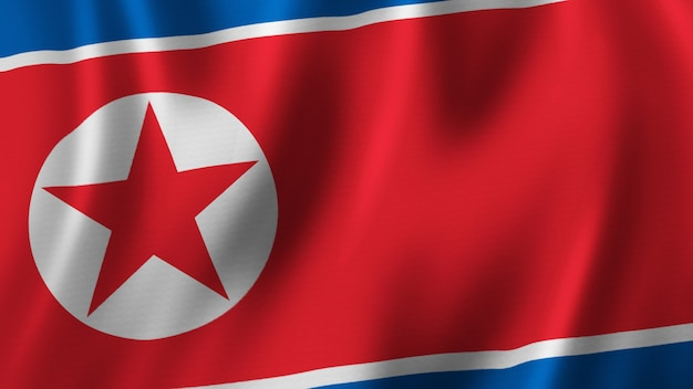 Vlag van noord-korea zwaaien close-up 3d-rendering met afbeelding van hoge kwaliteit met stof textuur