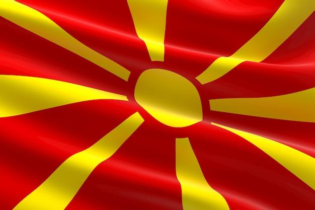Vlag van noord-macedonië. 3d-afbeelding van de macedonische vlag zwaaien.