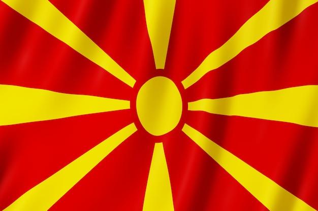 Vlag van noord-macedonië zwaaien in de wind.